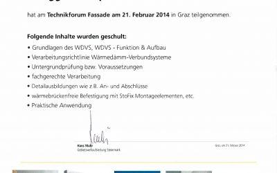 Schulungsbestätigung STO-Fassade_Christoph Zmugg_02.2014